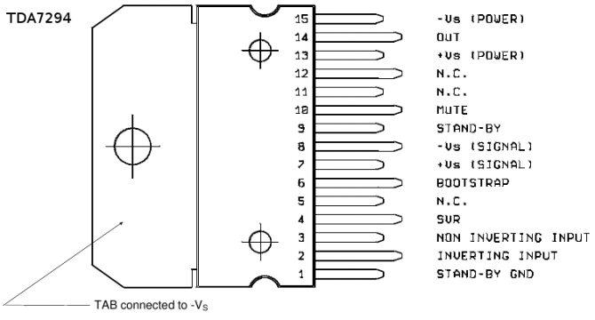 Цоколевка микросхемы TDA7294