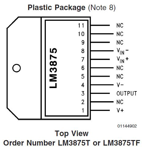 микросхема LM3875TF распиновка