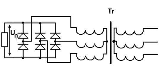 Напряжение на выходе полупроводникового выпрямительного моста является