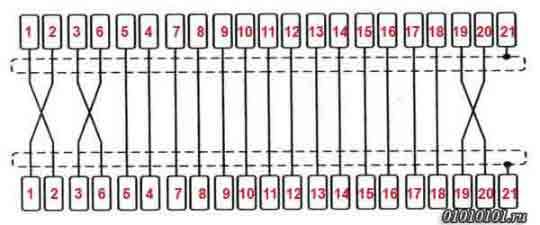 Переходник SCART-SCART Распиновка