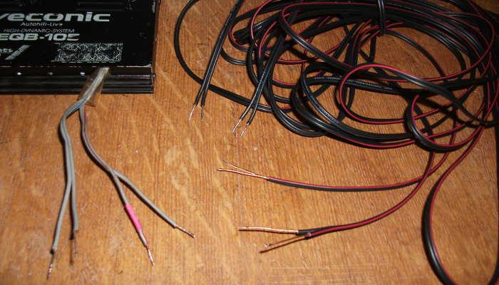 Подготовка проводников для подключения АС к усилителю