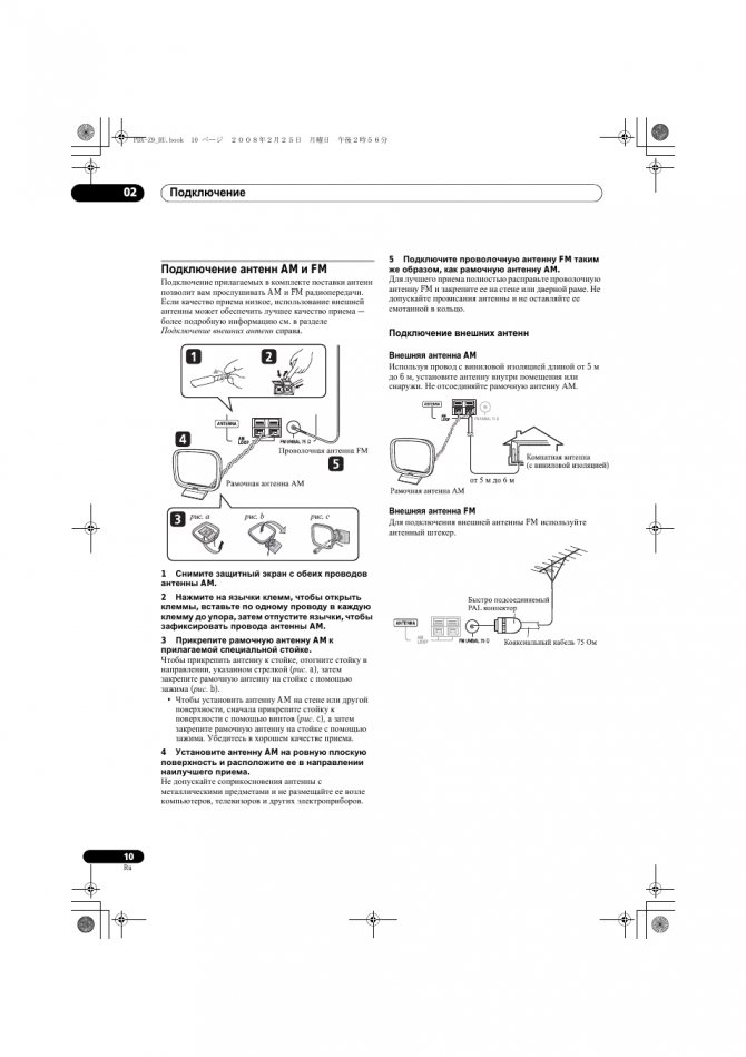 Подключение антенн am и fm, Подключение внешних антенн, Подключение 02