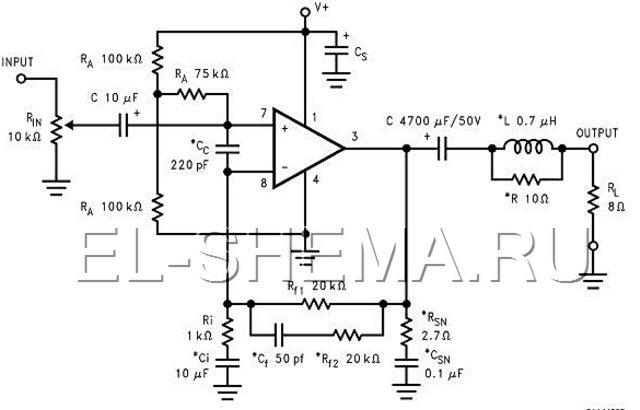 Приципиальная схема усилителя мощности из даташита