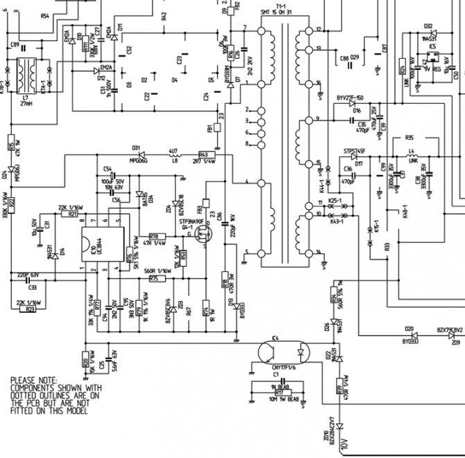 Пример реализации импульсного блока питания на базе ШИМ-контроллера UC3844