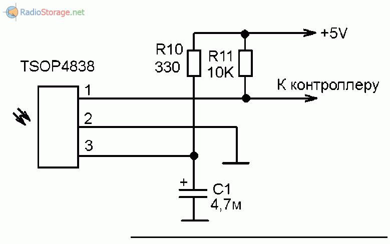 Примерная принципиальная схема включения ИК-приемника в ресиверах