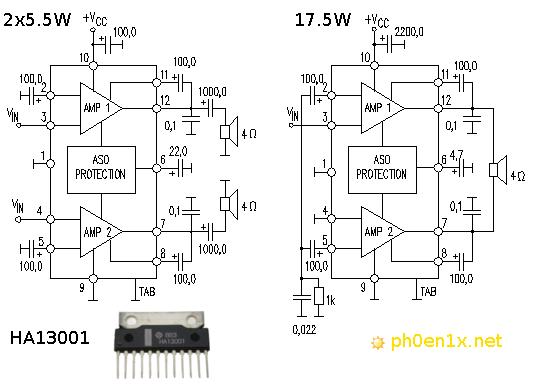 Принципиальная схема двухканального и мостового усилителя мощности на HA13001