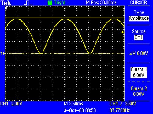 Процесс работы диодного моста без сглаживающего конденсатора C1 c частотой питания 50Гц