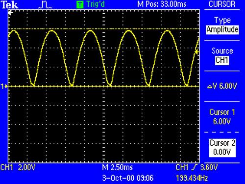 Процесс работы диодного моста без сглаживающего конденсатора C1 c частотой питания 100Гц
