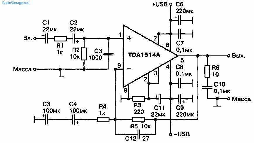 Схема 3 усилителей мощности на ИМС TDA1514А