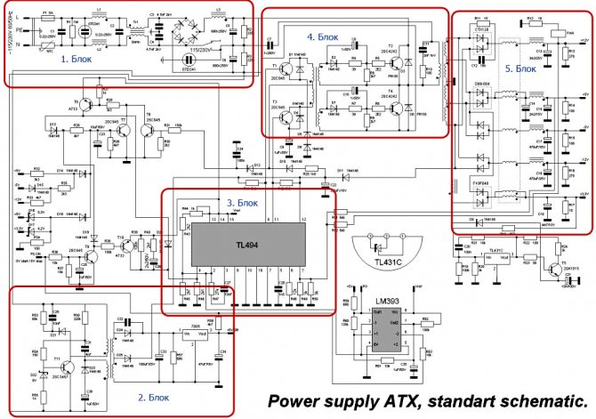 Схема АТХ блока питания мощностью 150-300 Вт