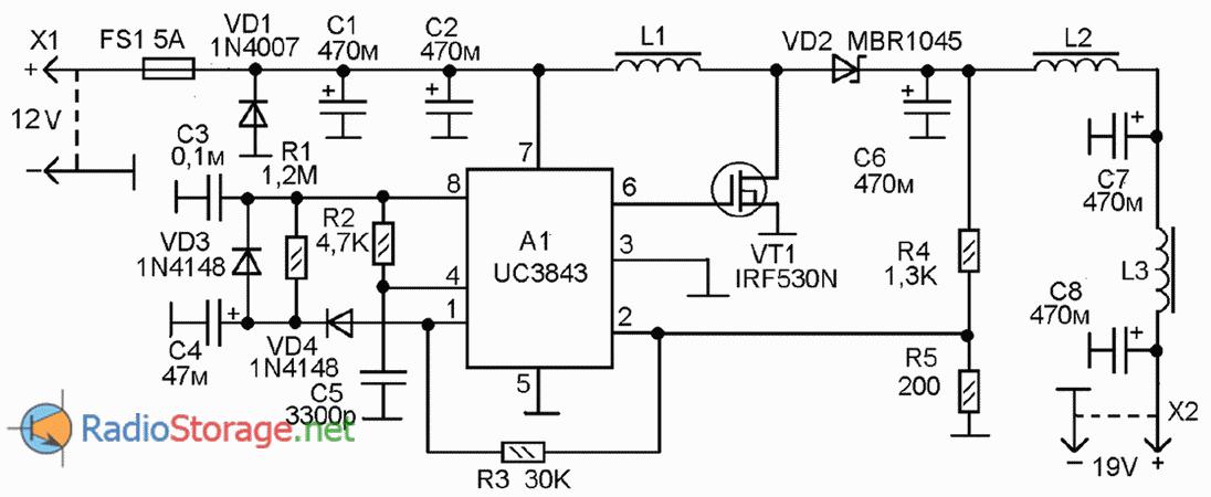 Схема DC-DC преобразователя напряжения из 12В в 19В на микросхеме UC3843
