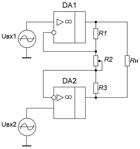Схема дифференциального усилителя, позволяющая регулировать коэффициент усиления одним резистором