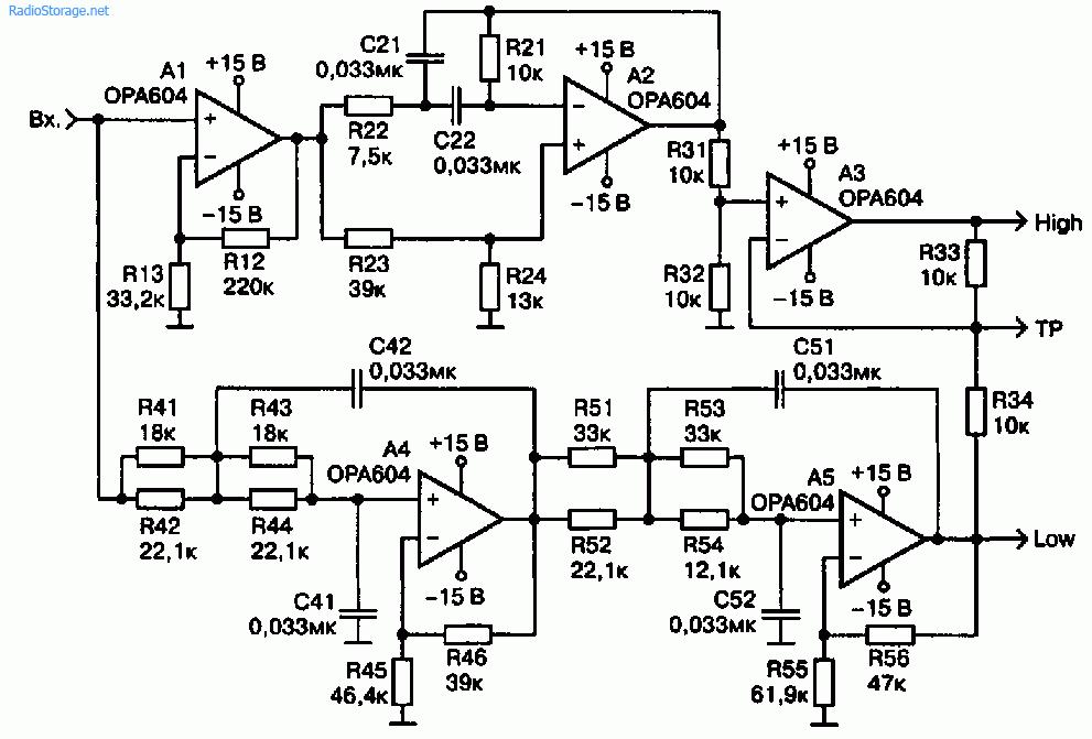 Схема фазолинейного активного кроссовера
