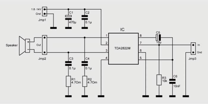 Схема сборки на TDA 2822