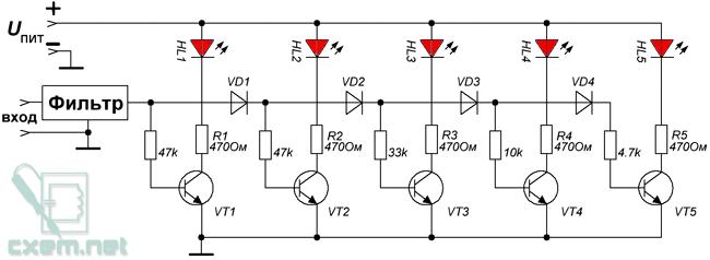 Схема спектроанализатора на транзисторах