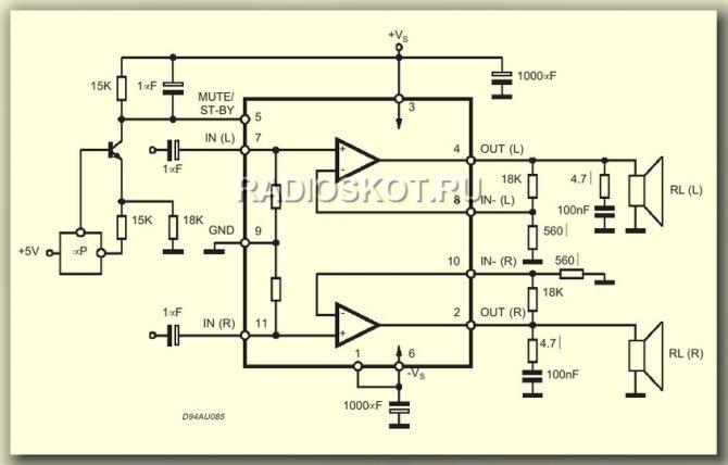 схема УНЧ на микросхеме TDA7265