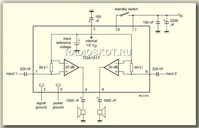 схема УНЧ TDA1517