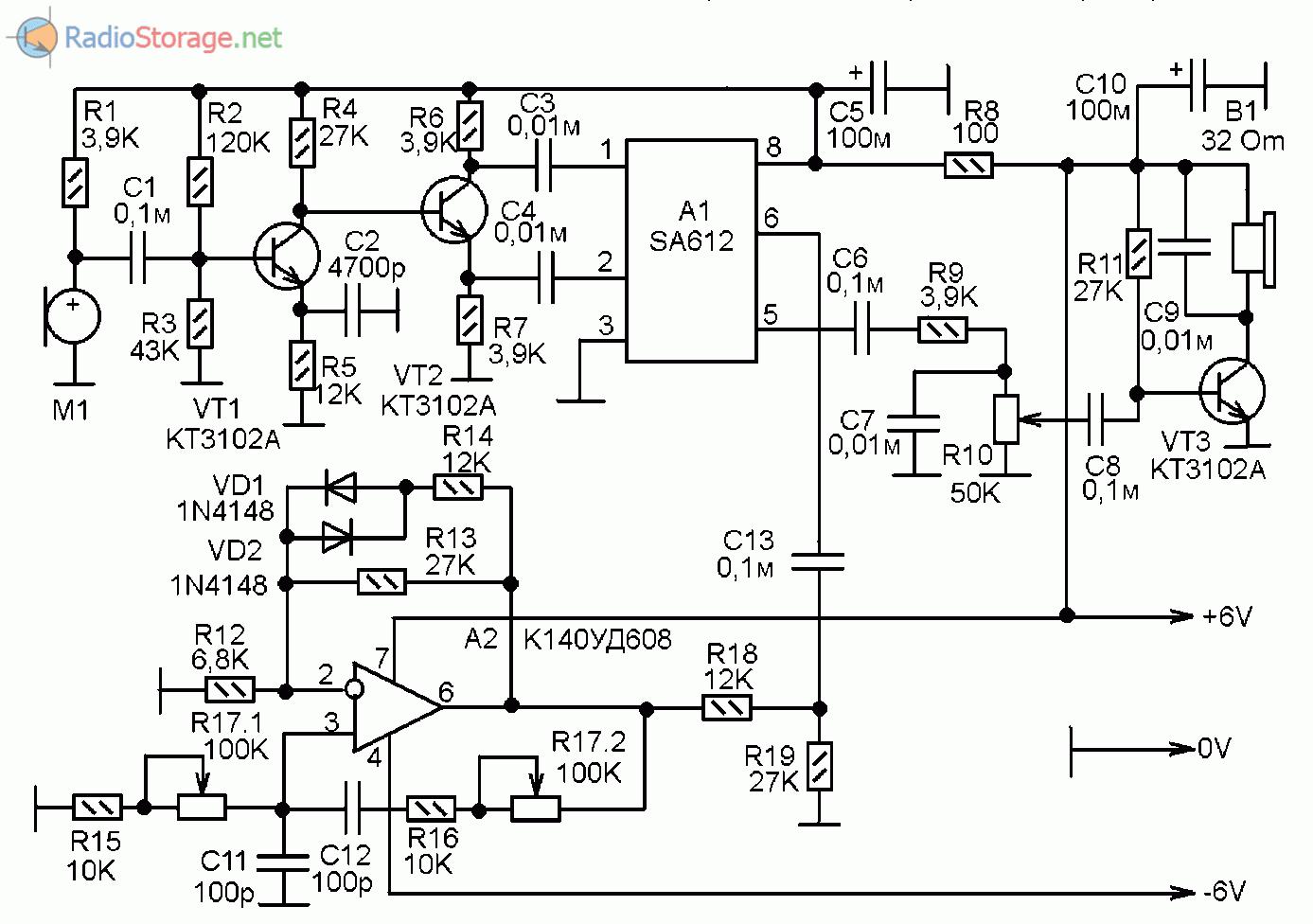 Схема усилительно-перобразующего устройства для прослушивания ультразвука