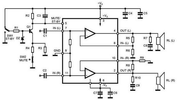 Схема усилителя на TDA7265 с режимом MUTE/STAND-BY