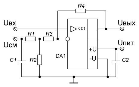 Схема усилителя с передаточной характеристикой типа UBbIX = kUBX – b