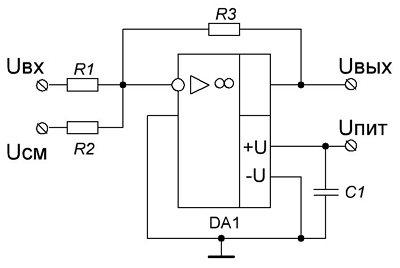 Схема усилителя с передаточной характеристикой вида UBbIX = – kUBX - b