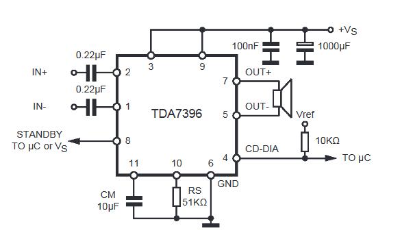 схема усилителя TDA7396