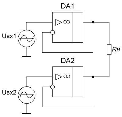 Схема увеличения входного сопротивления дифференциального усилителя на ОУ