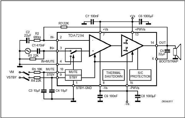 Схема включения TDA7294