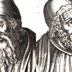 Слева направо: Аристотель, Евклид, Птолемей и Фрэнсис Бэкон; источник: Википедия