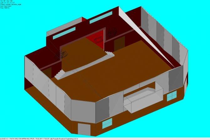 Вид помещения с отделочными материалами.