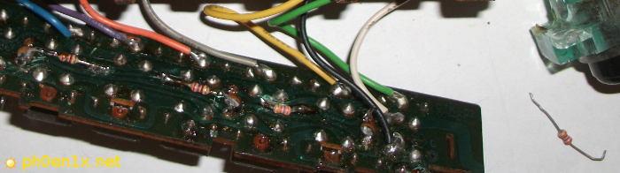 Впаянные светодиоды с гасящими резисторами